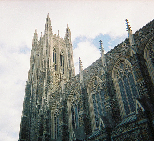 "Duke University Chapel (via carl lexicon) I would be fine if Butler won the title tonight— it would make for great sports storying— but I would be more fine if Duke won tonight. Why? 1) Duke was the first college I rooted for when I transitioned from ""sports suck"" me into ""woo! sports"" me in junior high. Sorry, University of Texas— you were close! But Duke got me first. I credit the TIP test and lots of loose leaf for my fandom— that and my grade school (in Dallas, mind you) had an inordinate amount of UNC fans. This is what happens when in-state college basketball stinks— impressionable kids default to The Machine. We also had Colorado, Nebraska, Kansas State, Penn State, Ohio State, and Michigan football fans in junior high. I blame the parents. 2) The Duke Chapel is pretty Gothicarchitecturally wonderful. Intricate. Intimidating. EPIC. A Gothic feast for the eyes. Gothic Wonderland."