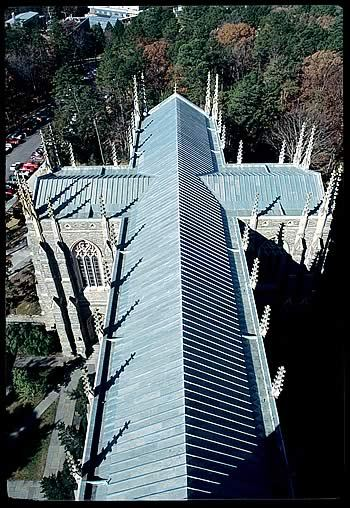 photographer: Chris Hildreth aerial view of the Duke Chapel, blue and gray (always a fan), shadow and line Duke Magazine -Religious Life at a Crossroads, by Bridget Booher - January/February 2008