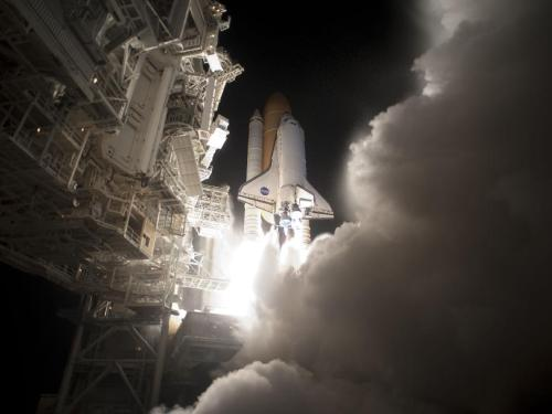 Discovery Lifts Off Image Credit: NASA/Tony Gray and Tom Farrar An exhaust cloud billowed around Launch Pad 39A at NASA's Kennedy Space Center in Florida as space shuttle Discovery lifted off to begin the STS-131 mission. The seven-member crew will deliver the multi-purpose logistics module Leonardo, filled with supplies, a new crew sleeping quarters and science racks that will be transferred to the International Space Station's laboratories. The crew also will switch out a gyroscope on the station's truss, install a spare ammonia storage tank and retrieve a Japanese experiment from the station's exterior. (via NASA)