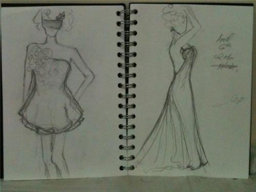 two sketches of dresses I made today. 6th April `10