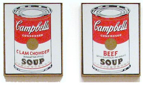 "Campbell's Soup Cans Andy Warhol(1928-1987) is an American born painter, printmaker, and filmmaker who lead the way in Pop Art. He commercialized the art in his time and became famous for coining the saying, ""Fifteen minutes of fame."" Campbell's Soup Cans was a combination of painting and use of mechanical tools to create it, as a result it offended some artists, saying this was 'disrespectful.' Many tales behind the reason Warhol created his work exist, but one is simply, ""I was a consumer of them."" Other works to see: Brillo Pad, Shoes Shoes Shoes, A Gold Pad"
