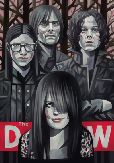 Evgeny Parfenov illustrates The Dead Weather for Rolling Stone.