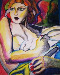 Watercolor and Pencil crayon, based on Tamara de Lempicka paintings. 18 x 24 (inspired by The Great Gatsby)