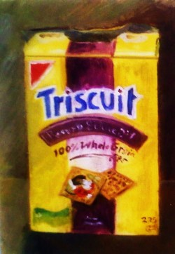 Triscuit Study, Oil on Mylar, 12 x 18