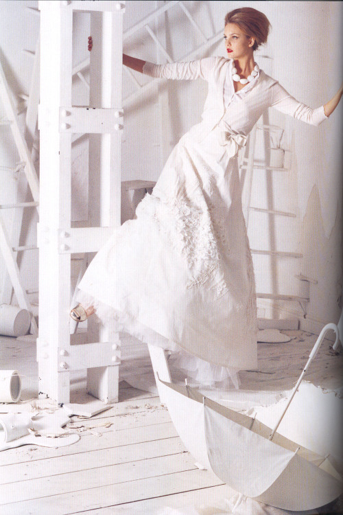 "csebastian:  ""The Handmade's Tale"" Vogue Australia, February 2006 photographer: Tim Walker Caroline Trentini larger from before:  white, cardigan, cotton, tulle, Carolina Herrera The Handmade's tale"
