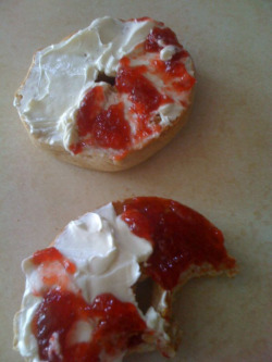Today I have realized that I like jelly and cream cheese together on bagels :)