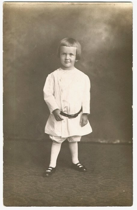 little boy in bloomers