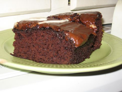 vegheadrecipes:  Low-Fat Chocolate Applesauce Cake Ingredients 2 cups flour 1 cup sugar 1 tbsp cornstarch 2 tsp baking soda 1/4 tsp salt 1/3 cup cocoa 1 1/2 cups applesauce DirectionsPre-heat oven to 325 degrees. Grease and flour a bundt cake pan. Note: You can use other cake pans, but because this cake is a bit heavy, layered cake pans are not recommended. Mix all of the dry ingredients together in a large bowl. Add applesauce and mix well until batter is smooth. Bake for 50-55 minutes, until done. You can always tell that a cake is finished baking by sticking a toothpick in the center of the cake. If the toothpick comes out clean, that is, not covered in batter, then your cakes is done baking. Frost, if desired, and enjoy!
