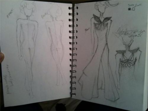 I sketched a model female body structure and another dress today. These was the first thing I did when I woke up. still in bed. still in a sleepy state of mind.
