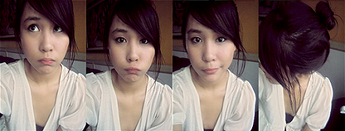 I'm home… *tired and sleepy*  say hello to 2 huge zits on my forehead D: they're hiding…