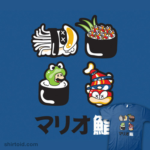 shirtoid:  Super Mario Bros Sushi available at RedBubble