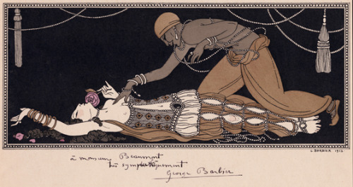 yama-bato:  George Barbier (1882-1932) Illustration for Michel Fokine's ballet 'Schéhérazade' depicting Ida Rubinstein as the Shah's favourite wife and Vaslav Nijinsky as the Golden Slave, based on costume design by Leon Bakst (1866 - 1924) 1913