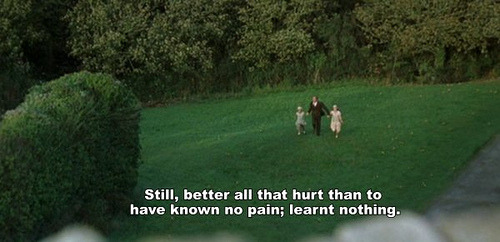 Still, better all that hurt than to have known no pain; learnt nothing.
