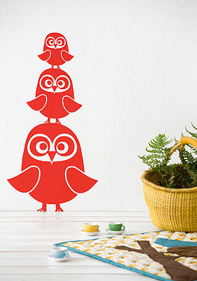 Three Owl Wallstickers.  I don't exactly know what I would do with these but I want them!  These wall stickers from Velocity Art & Design are 3 super-cute owls all stacked up.  Perhaps something for the kids. They have a nice owl pillow that I love too.