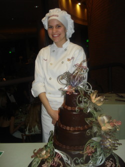 My daughter Brittany with her award-winning cake. Chocolate Ball, Columbia, Md.