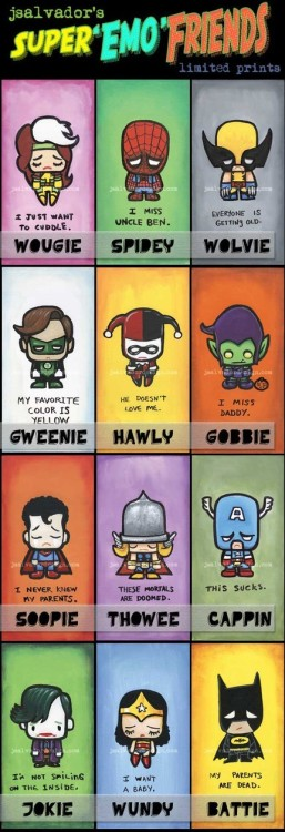 The Super-Emo-Friends! Batman's entry is predictable, but still sad… from http://www.etsy.com/view_listing.php?listing_id=34937568