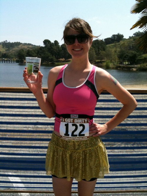 I won a cup today! 1st in my age group and 3rd overall woman in my mountain bike triathlon.