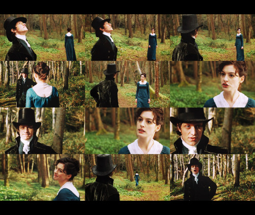 fuckyeahjaneites:nightley:  Tom Lefroy: I have been told there is much to see upon a walk, but all I've detected so far is a general tendency to green above and brown below.  Jane: Yes, well, others have detected more. It is celebrated. There's even a book about Selborne Wood.  Tom Lefroy: Oh. A novel, perhaps?  Jane: Novels? Being poor, insipid things read by mere women, even, God forbid, written by mere women?  Tom Lefroy: I see, we're talking of your reading.  Jane: As if the writing of women did not display the greatest powers of mind, knowledge of human nature, the liveliest effusions of wit and humour and the best-chosen language imaginable?  Tom Lefroy: Was I deficient in rapture?  Jane: In consciousness!  Tom Lefroy: It was…It was accomplished.  Jane: It was ironic.  Tom Lefroy: And you are sure I have not offended you?  Jane: Not at all! Becoming Jane (2007)  On my walk yesterday this did not happen. I saw a general tendency towards blue above and green below. I did detect some Irish Wolfhounds and some squirrels and some graffiti. I was not at all offended.