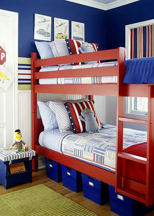 blue and red boys room