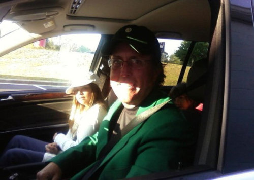 OK, this guy is a genuine family guy. Mickelson, the second-best golfer in the world and the maximum model of being a good husband/family man* was golf's best possible winner of The Masters. Mickelson is taking attention away from the chronic infidelity of Tiger Woods; would any other winner do that? Tiger Woods certainly wouldn't. Maybe Fred Couples would. But another reason that Mickelson is a great winner for golf and the PGA Tour is that Mickelson does stuff so ordinary** like going to Krispy Kreme with his kids. Only, he wore the green jacket that he earned by winning The Masters hours earlier. You probably didn't. * One of the most tear-jerking parts of The Masters was the fact that Mickelson's wife is recovering from cancer. See this to understand how impressive it was that Amy Mickelson made it to the final round of The Masters.  ** and yet so awesome.