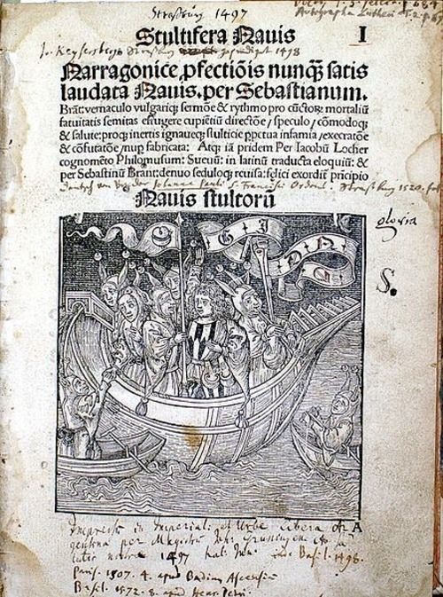 Sebastian Brant: The Ship of Fools  Stultifera Navis, Latin translation by James Locher Strasbourg: Johann Gruninger, 1497 Title  ex Bibliotheca Gymnasii Altonani