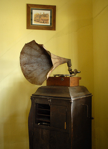 when i was a little girl my grandfather had a victrola in his office. we called it my mailbox. everytime i would go over to his house he would put little trinkets in the little compartment for me. it was sweet.