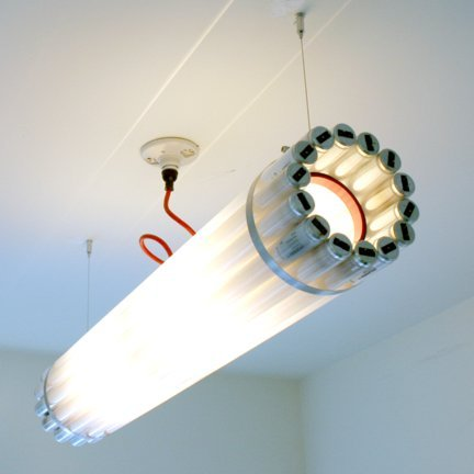 suitep:  The Recycled Tube Light is made from burnt-out fluorescent tubes and is lit  using centrally placed bulbs. The fluorescent bulbs have been reclaimed from  architecturally significant buildings in Canada, such as the TD Tower designed  by Mies van der Rohe, Toronto's Old City Hall and University of Toronto. (via)