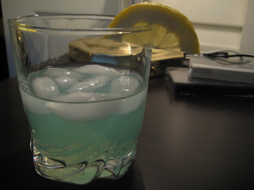 The Kermit  1oz absinthe (Le Tourment Vert) 2oz 7-Up Juice of 1/3 of one lemon Serve in rocks glass with one human male's hand's worth of ice and garnish with slice of lemon. Avoid the pig character. She's up to no good…and she's stalking you.