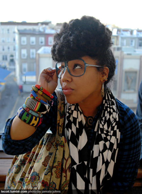 lecoil:  Chop, emcee, at the Skylight Gallery in Bed-Stuy.   <~Loves this Doll's ecletic style!