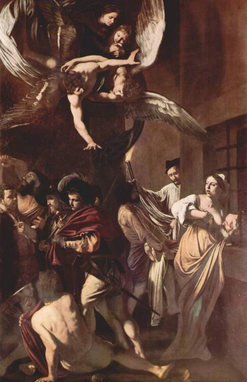 Sette opere di Misericordia (The Seven Works of Mercy), Caravaggio, 1606-1607, olio su tela, 390 cm × 260 cm,   Pio Monte della Misericordia, Napoli (1) the burial of the dead and the episode of the so-called Carità Romana (Cimon's daughter breastfeeding her father, who was sentenced to life in prison), containing at once the two charitable acts of (2) visiting prisoners and (3) feeding the hungry. St. Martin and the beggar, symbolizing (4) dressing the naked. the host and St. James of Compostela allude to the (5) offering of hospitality to pilgrims. Samson drinking from the ox jaw represents (6) relieving the thirsty. The youth on the ground behind the beggar of St. Martin may also represent the merciful gesture of (7) caring for the sick.