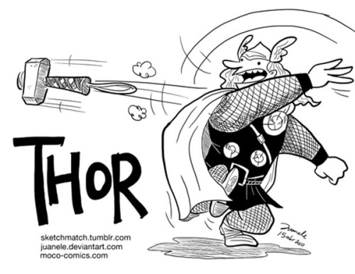 La propuesta de @juanele_tamal link (via Thor throwing his hammer by *Juanele on deviantART)