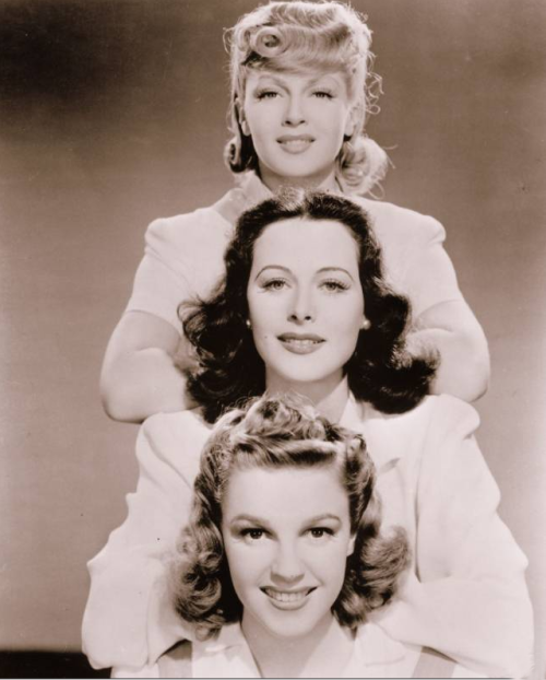 "Lana Turner, Hedy Lamarr, and Judy Garland in ""Ziegfeld Girl"" 1941"