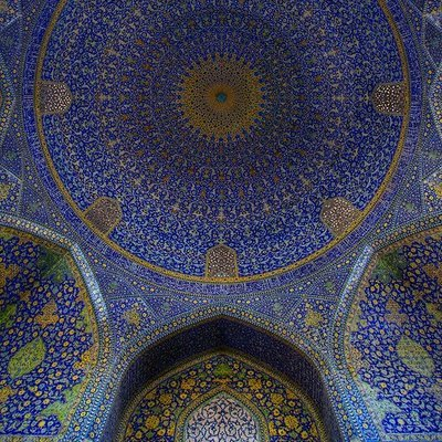 chateauxdanslair:  Interior of the Sanctuary dome of the Royal Mosque