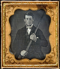 "harvestheart:  Image via Wikipedia Story of Phineas Gage - HISTORIC PHOTOGRAPHY - Estimated Date 1855 A daguerreotype image believed to be of railway worker Phineas Gage holding a tamping iron that went through his head during an explosion on a worksite in 1848. Phineas P. Gage (July 9?, 1823 – May 21, 1860)was a railroad construction foreman now remembered for his incredible survival of an accident in which a large iron rod was driven completely through his head, destroying one or both of his brain's frontal lobes, and for that injury's reported effects on his personality and behavior—effects so profound that friends saw him as ""no longer Gage."" Gage recovered from the accident and retained full possession of his reason, but his wife and other people close to him soon began to notice dramatic changes in his personality. Phineas Gage's brain was not subjected to any medical examination at that time, but seven years later his body was exhumed so his skull could be studied. Today Gage's skull is on permanent display at Harvard's Countway Library of Medicine. http://graphics8.nytimes.com/images/2009/07/22/science/wilgus_gage_hs.jpg"