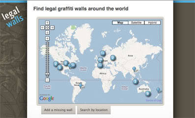 Legal Walls - Find legal graffiti walls around the world http://www.legal-walls.net/