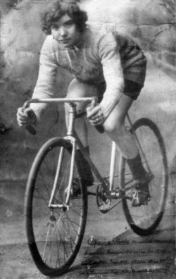 Alfonsina Strada (16 March 1891 - 13 September 1959) Lady Cyclist:  Alfonsina Strada was an Italian cyclist, the only woman to have ridden one of cycling's three major stage races. She started in the Giro d'Italia in 1924 when the organisers mistook her for a man. Newspapers called her The Devil in a dress. Her racing career included an Italian record which lasted 26 years. She died aged 69 as she propped up her motorcycle after riding to a bicycle race.