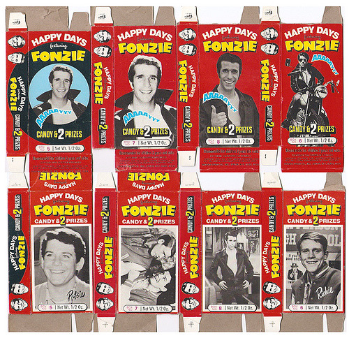growingup70s:  1976 Phoenix Candy Happy Days Fonzie Boxes (by gregg_koenig)
