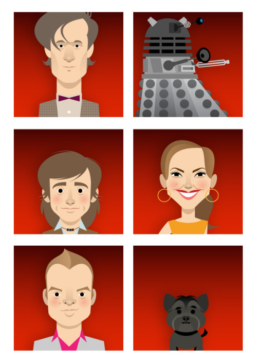 stanleychowillustration:  The caricatures used on the current BBC1 weekend trailer and ident. for Dr. Who Animated by Aardman Animation
