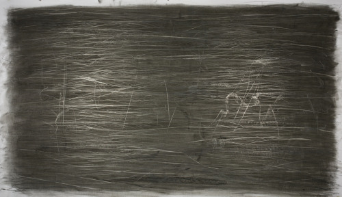 "untitled (shimmer)2010_04_18charcoal and graphite on paper34"" x 60""Matt Niebuhr This version of shimmer is moving in the right direction and I want to go further with it to see what evolves. Process and material is important and contributes to the outcome. These combined with ""action"" - meaning how far I can draw across the paper at 5 feet in width in either continuous or short hash type marks.  It's a record drawing of marks in a formal sense. Exploring the qualities of material - the sheen of graphite both in underlayment with charcoal overlay, blends, additive graphite marks and erasure.   The shimmer is modified by the dominate horizontal marks which tend to make the reflected light source seem more rectangular.  Different than previous this version of shimmer.  detail from untitled (shimmer)2010_04_18charcoal and graphite on paperMatt Niebuhr The drawing from an oblique view introduces a sense of perspective in the reproduction…  detail from untitled (shimmer)2010_04_18charcoal and graphite on paperMatt Niebuhr"