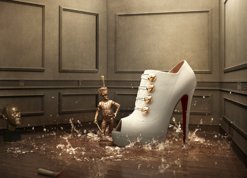 "The 2010 FW ""Winter Tales"" campaign for Louboutin is simply lovely. This one, my favorite, is named after The Steadfast Tin Soldier. I'm also rather inordinately fond of the Snow Queen and Cinderella :) carolinerie:  Louboutin by  Khuong Nguyen  http://www.kyongnguyen.com/"