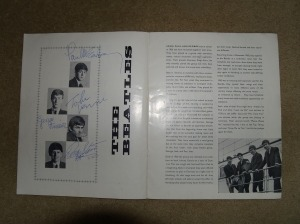 Beatles Memorabilia I recently discovered a rare signed Beatles programme in mint condition. The programme was for the 1963 Beatles and Roy Orbison Tour and was additionally signed by Roy Orbison . The owner obtained the signatures himself backstage at Sheffield City Hall on 25 May, 1963, he worked for the booking agent Wilson Peck and sold the programmes before many of the big concerts at the time. The programme had been kept in mint condition, with exceptionally clear signatures. The programme has been sold to a private U.S. collector but we are always looking to buy similar pieces. If you would like a valuation of your memorabilia, please feel free to e-mail me.