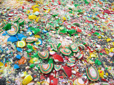 "halfbakedidea:  Tons of crushed ""Jawbreaker"" candies on a roadway following a truck spill. Via"