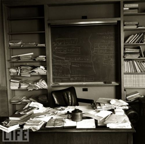 Albert Einstein's Princeton desk only a few hours after he died in 1955.