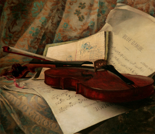 "Luther Emerson Van Gorder Still Life with Violin and ""Blue Danube"" Music 1885"