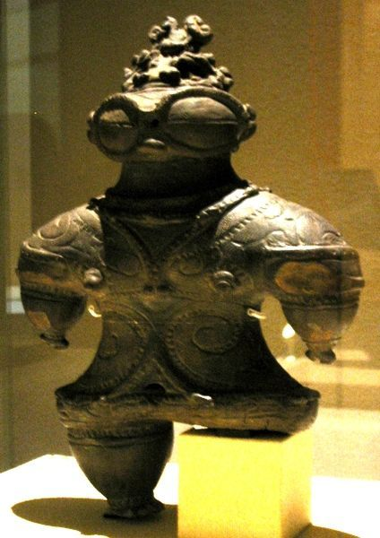 readmorewikipedia:  The Dogū has been speculated to be an ancient astronaut that visited earth during the Jōmon period of Ancient Japan; it shows features claimed to resemble a space suit, goggles and a space helmet.