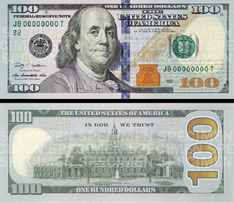 "new 100 dollar bill redesign: ""Know Its Features So You Can Know It's Real"" The U.S Government has unveiled a new makeover for the $100 note, which is equipped with newer technology to prevent counterfeiting. This looks like a technical upgrade, not the full redesign many have been hoping for. ""…The blue 3-D Security Ribbon on the front of the new $100 note contains images of bells and 100s that move and change from one to the other as you tilt the note. The Bell in the Inkwell on the front of the note is another new security feature. The bell changes color from copper to green when the note is tilted, an effect that makes it seem to appear and disappear within the copper inkwell… The back of the note has a new vignette of Independence Hall featuring the rear, rather than the front, of the building. Both the vignette on the back of the note and the portrait on the front have been enlarged, and the oval that previously appeared around both images has been removed…"" —via press release The United States Department of the Treasury has put together an ""animated tutorial""  and a video to get a better look at some of the new enhancements figured into the redesign. The new bills will not be put into circulation until February 10, 2011."