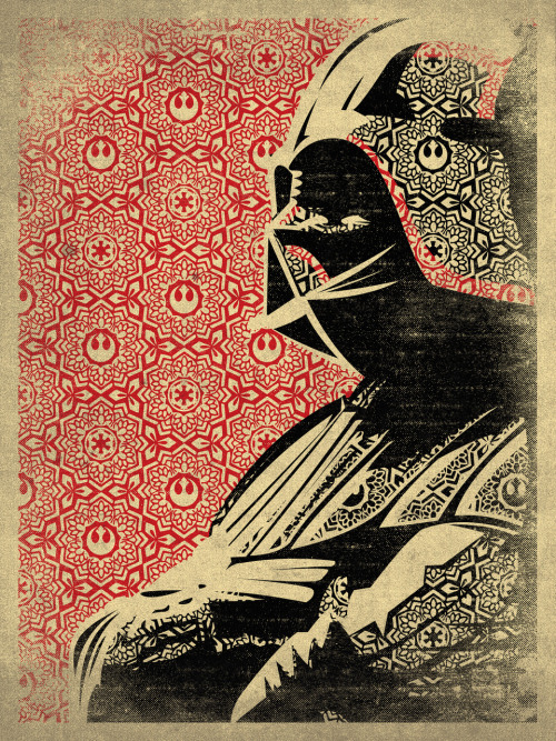 Darth Vader - by Danny Haas Tumblr || Twitter || Store Artist note: I did this piece a long time ago, but recently posted it on twitter and got a lot of love from some people and someone from Lucasfilm. Which is always rad.  This was basically my love for all things Obey and Star Wars. Enjoy. (Via: r0gue)