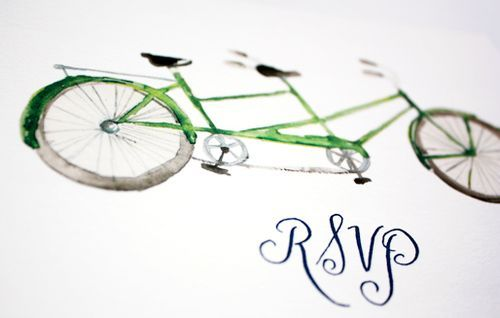 Oh So Beautiful Paper: Watercolor Bicycle Wedding Invitations