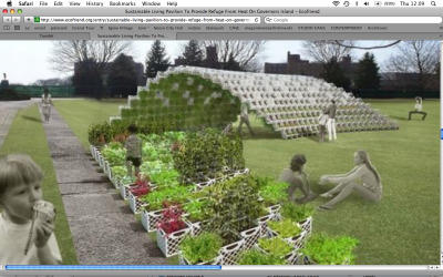 Sustainable Living Pavilion | ecofriend.org  The Living Pavilion is a low-tech, zero-impact structure that makes use of reclaimed milk crates as a framework where a green wall can be grown. The pavilion's construction has been kept simple and modular. Relying on commonly available materials for assembly, the pavilion will provide a shaded area away from direct heat, which will be kept cool by the evaporation from its planted surface.  via urbangreens: blog-architecture