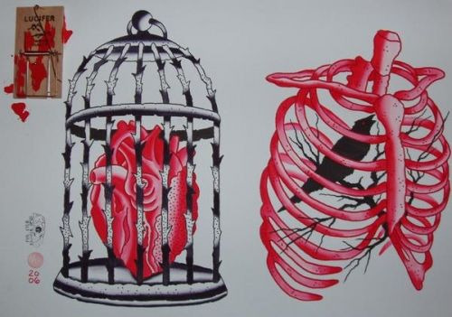bird cage heart tattoo